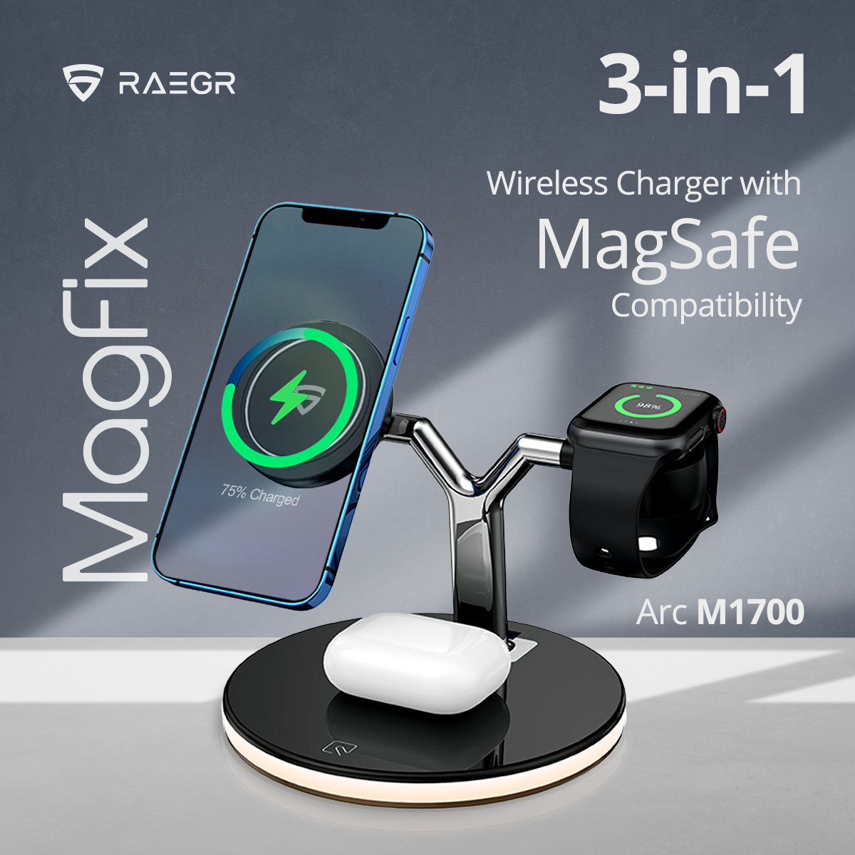 RAEGR launches 'MagFix Trio Arc M1700' – a 3-in-1 charging station for Apple devices