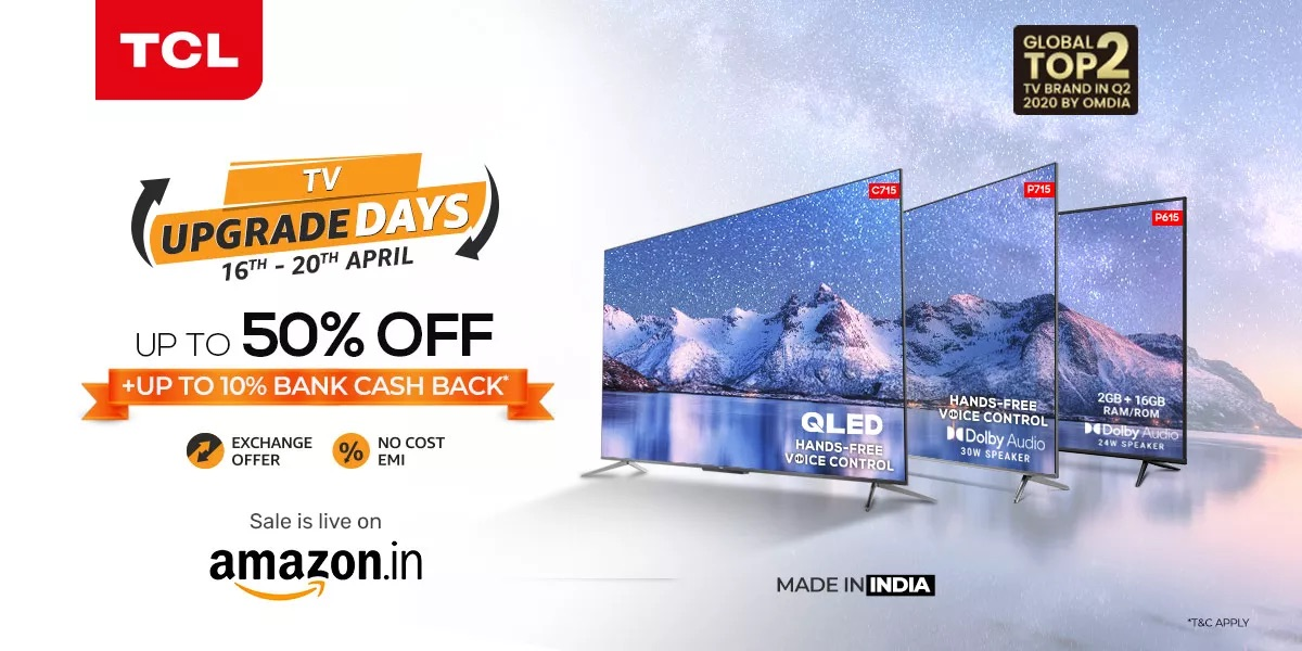 TCL rolls out exciting offers on 4K, 4K UHD and 4K QLED TVs on TV Upgrade Day