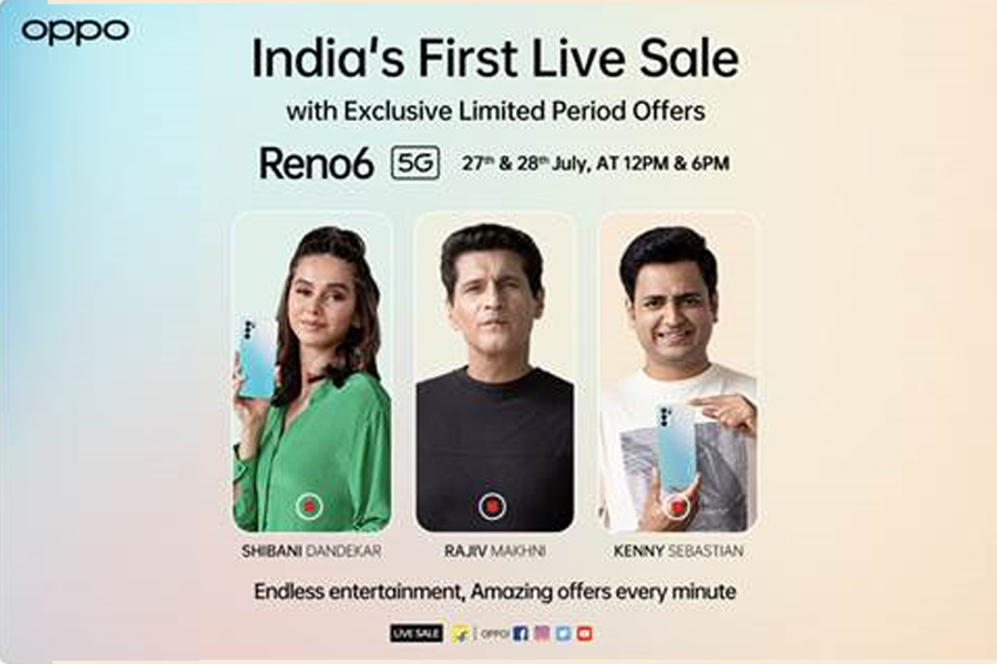 Oppo announces India's first live sale with Reno 6 5G